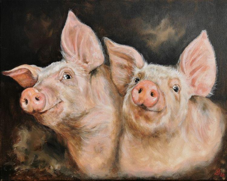Bauernhof, Schwein, Ferkel, Malerei