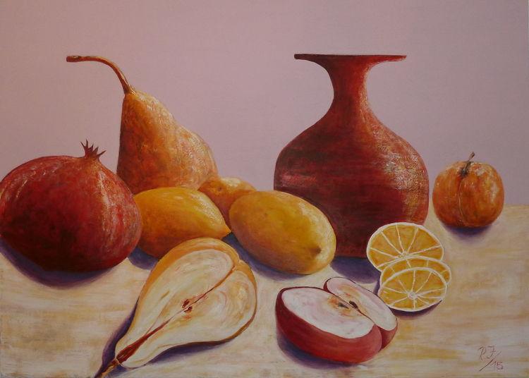 Rot, Vase, Birne, Gelb, Apfel, Marille