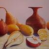 Stillleben, Granatapfel, Marille, Obst