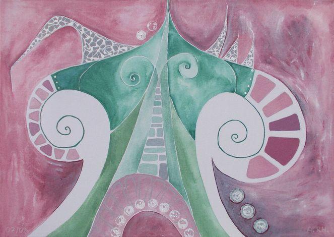 Abstrakt, Modern, Weißaltrosa, Malerei, Dekoration, Acrylmalerei
