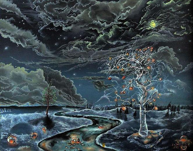 Winter, Nachhimmel, Eis, Feueräpfel, Mond, Mystik