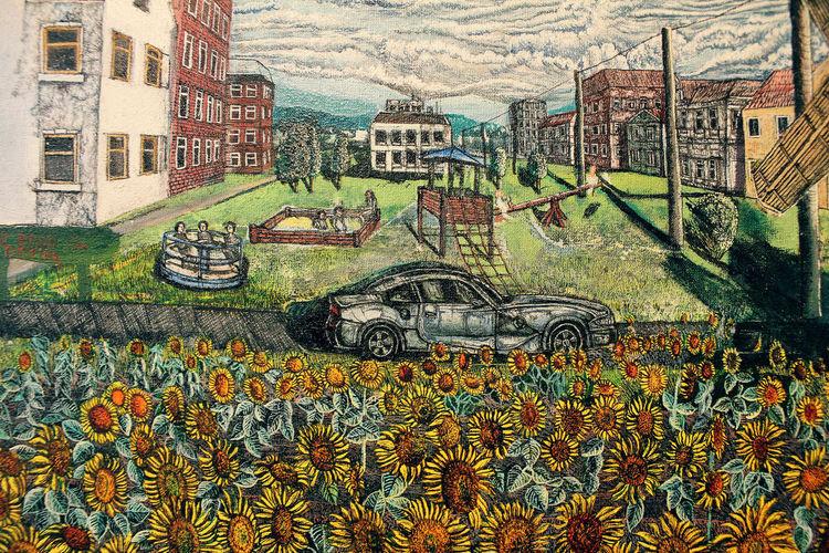 Sonnenblumen, Bmw, Spielplatz, Malerei