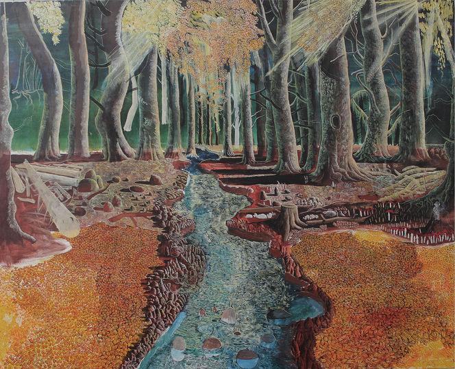 Mystik, Herbst, Wald, Fluss, Baum, Malerei