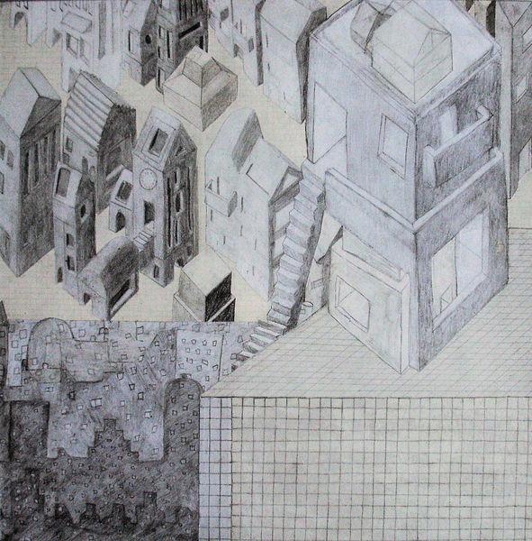 Gebäude, Zeichnungen, Abgrund,