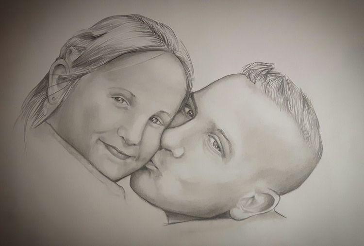 Tochter, Kuss, Liebe, Familie, Vater, Zeichnungen