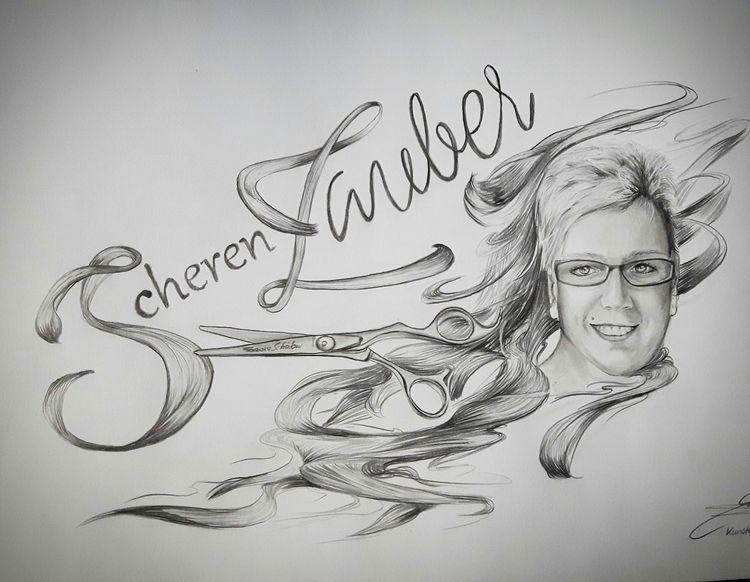 Frieseur, Brille, Schere, Logo, Illustrationen