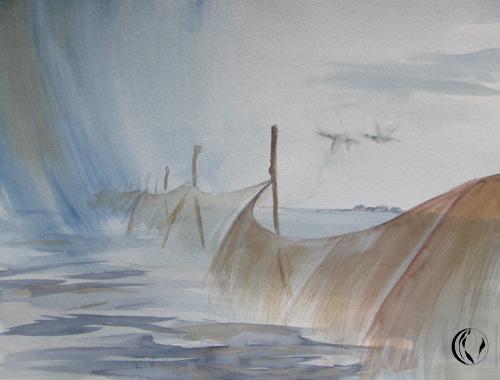 Malen am meer, Aquarellmalerei, Landschaft, Aquarell, Meer, Malen