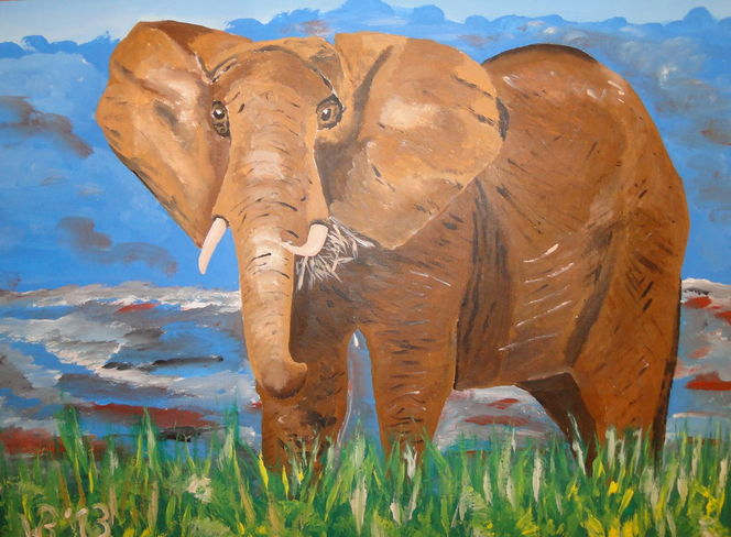 Dickhäuter, Afrika, Tiere, Afrikanischer elefant, Malerei, Elefant