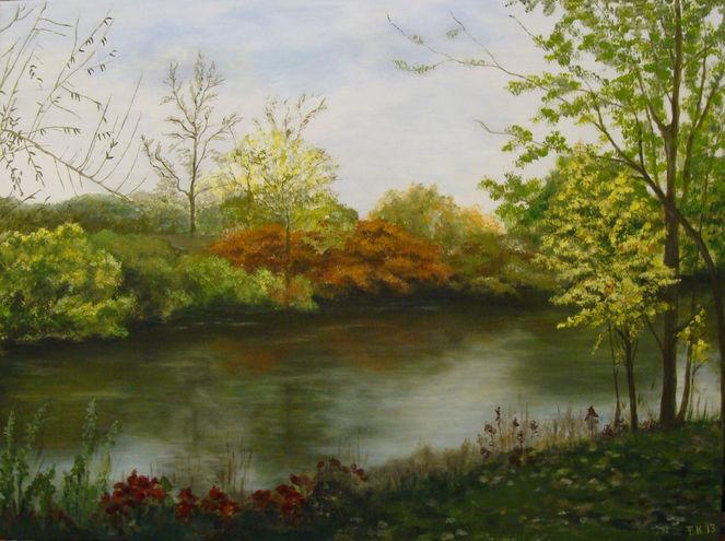 Acrylmalerei, Fluss, Ufer, Herbst, Landschaft, Malerei