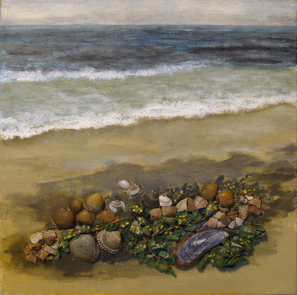 Strand, Acrylmalerei, Collage, Meer muscheln, Mischtechnik