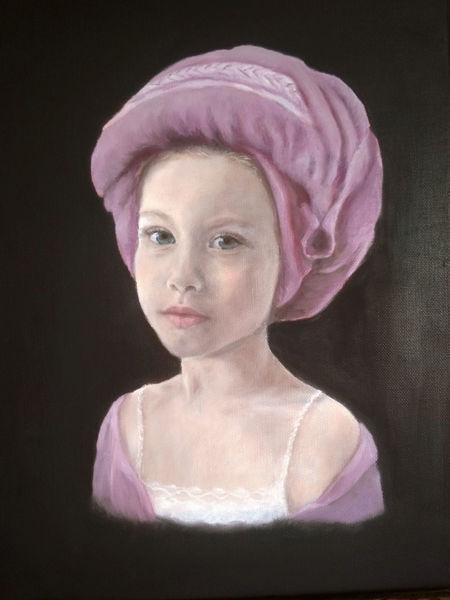 Portrait, Ölmalerei, Mädchen, Turban, Malerei
