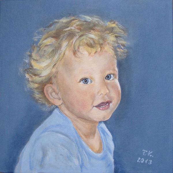 Kleinkind, Junge, Portrait, Kind, Acrylmalerei, Malerei
