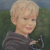 Ölmalerei, Kind, Junge, Schmetterling