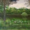 Ölmalerei, Teich, Seerosen, Wald