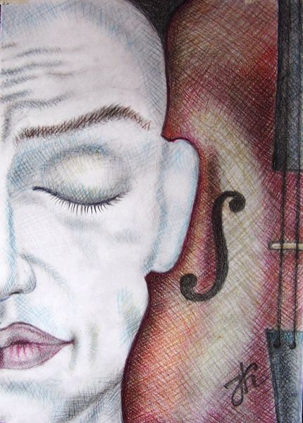 Musik, Geige, Portrait, Zeichnungen