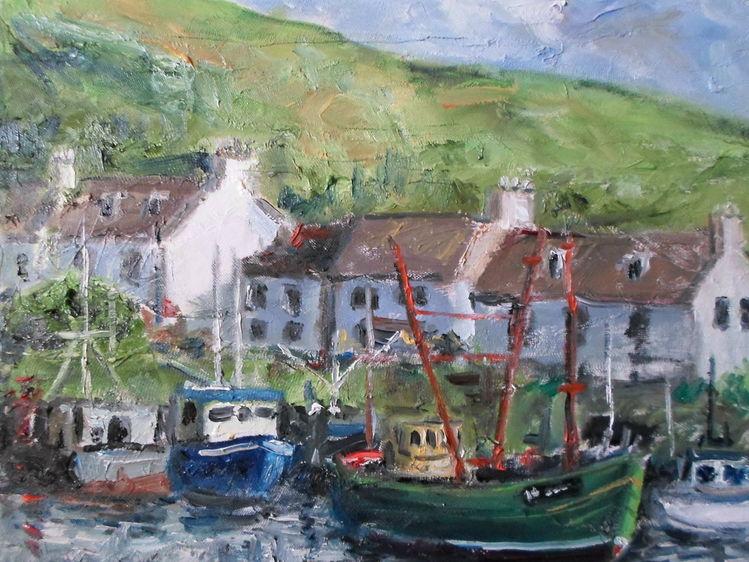 Blau, Schottland, Abstrakt, Hafen, See, Malerei