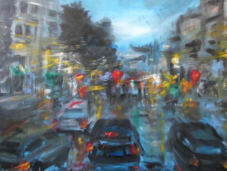 Malerei, Stadt, Blau
