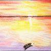 Sonnenuntergang am meer, Landschaft, Malerei, Sonnenuntergang