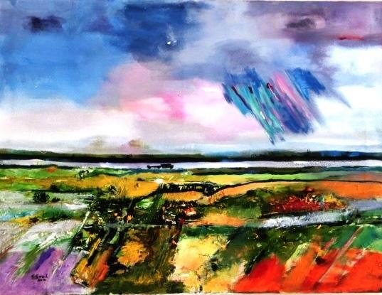 Landschaft, Himmel, Blitz, Feld, Spiegelung, Abstrakt