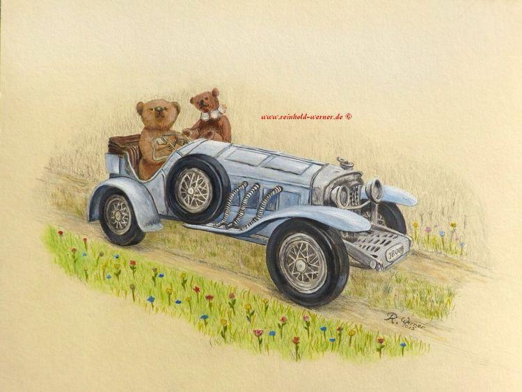 Teddybär, Im grünen, Paradies, Glück, Fantasie, Oldtimer