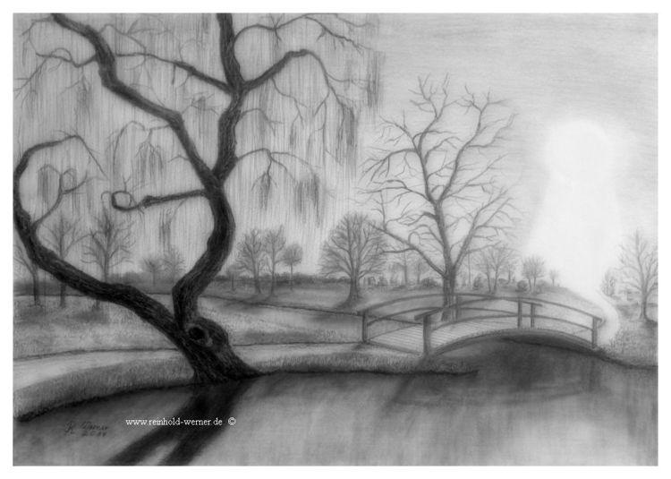 Landschaft, Licht, Trauer, Baum, Park, Zeichnungen