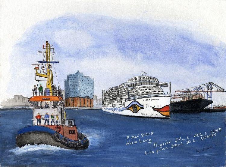 Schiff, Hamburg, Bugsier hafen, Elbe, Zeichnungen,