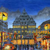 Paderborn bei regen, Stadt, Straßenscene, Malerei