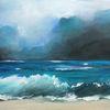Blau, Landschaft, Acrylmalerei, Frische