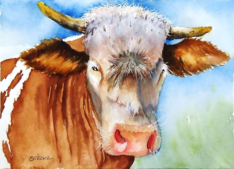 Tiere, Malerei, Kuh, Horn, Braun, Natur