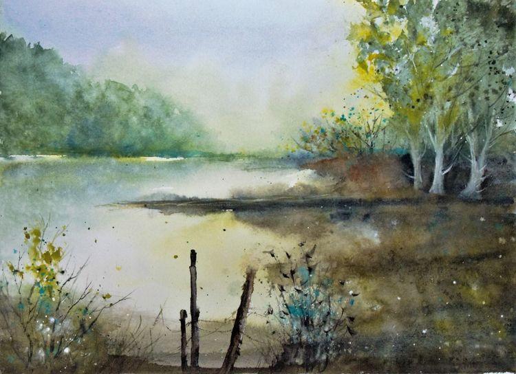 Aquarellmalerei, Wasser, Landschaft, Atmosphäre, Baum, Stimmung