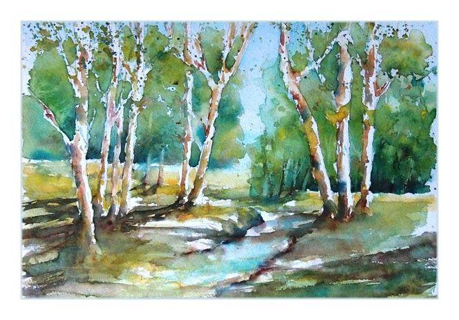 Sonnig, Laubbäume, Frühling, Landschaft, Licht, Aquarellmalerei