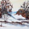 Dünen, Aquarellmalerei, Gemälde, Winter