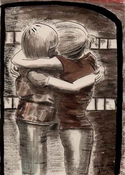 Tusche, Umarmung, Aquarell, 2013, Kinder