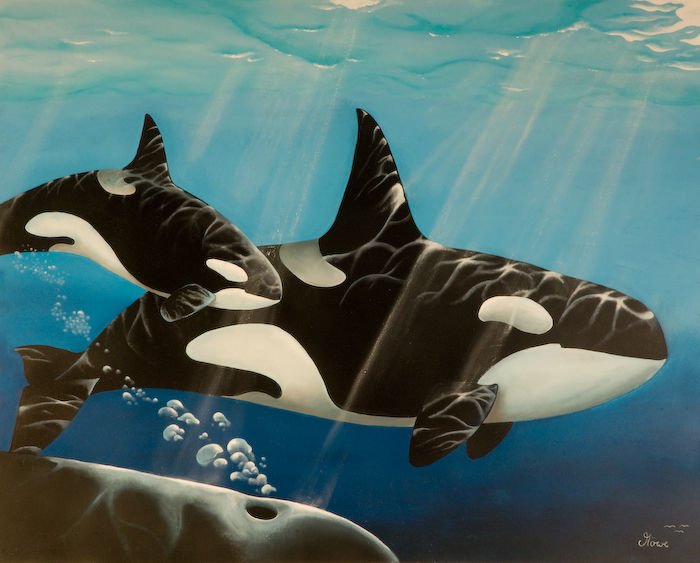 Tiere, Wasser, Wal, Delfin, Malerei,