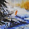 Rotkehlchen kälte, Sonne idylle, Aquarellmalerei, Birken