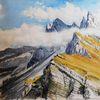 Aquarellmalerei, Tirol, Berge, Landschaft