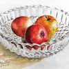 Erntezeit, Apfel, Aquarellmalerei, Glasschale