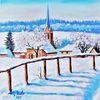 Ölmalerei, Odenwald, Winterhauch, Kälte