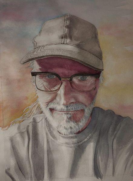 Aquarellmalerei, Selfie, Selbstportrait, Brille, Aquarell,