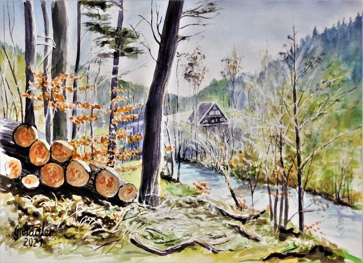 Landschaftsmalerei, Natur, Bach, Corona, Odenwald, Jahreszeiten