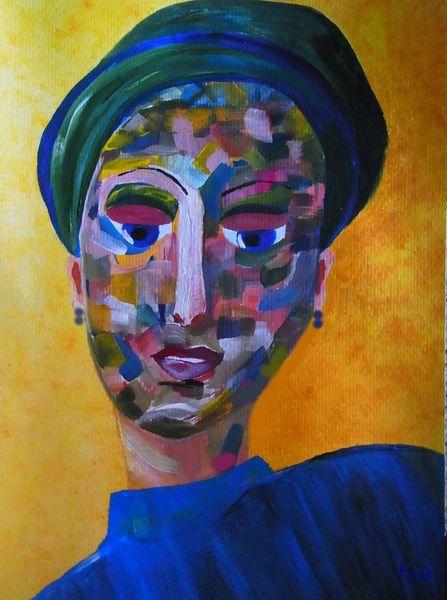 Augen, Frau, Gesicht, Hut, Malerei