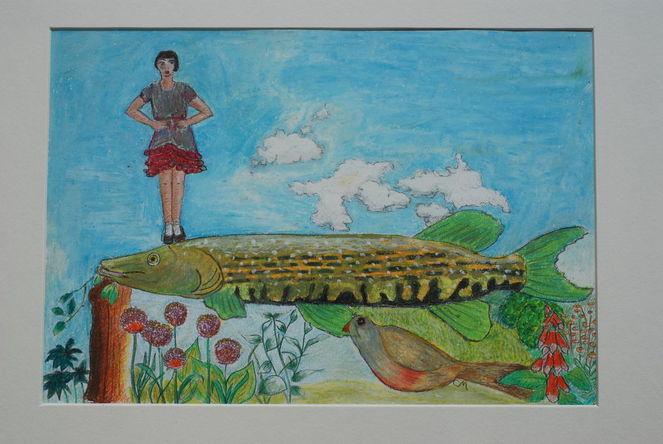 Pflanzen, Hecht, Blumen, Fisch, Wolken, Malerei
