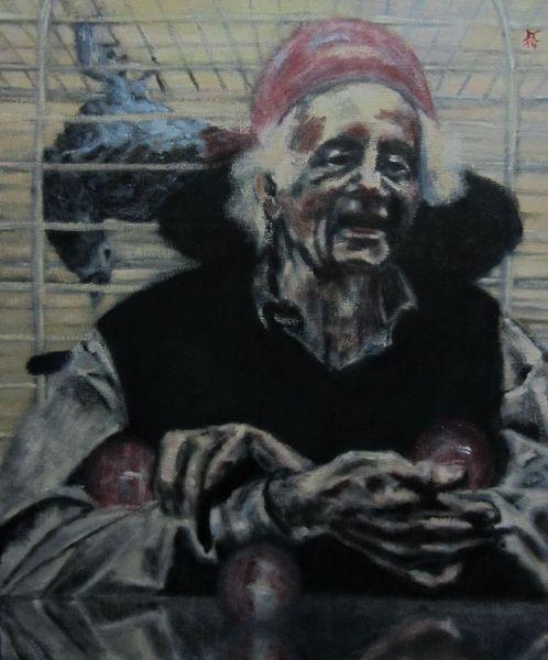Spiegelung, Papagei, Portrait, Clown, Rollstuhl, Käfig