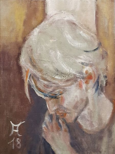 Blick, Hand, Junger mann, Orange, Haare, Malerei