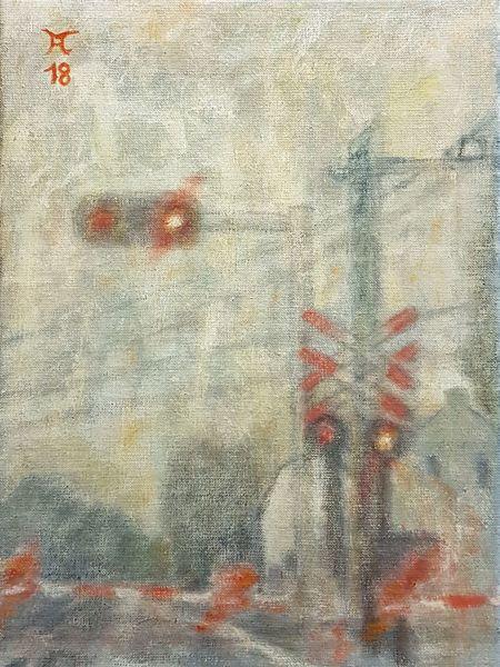 Straße, Licht, Nebel, Malerei