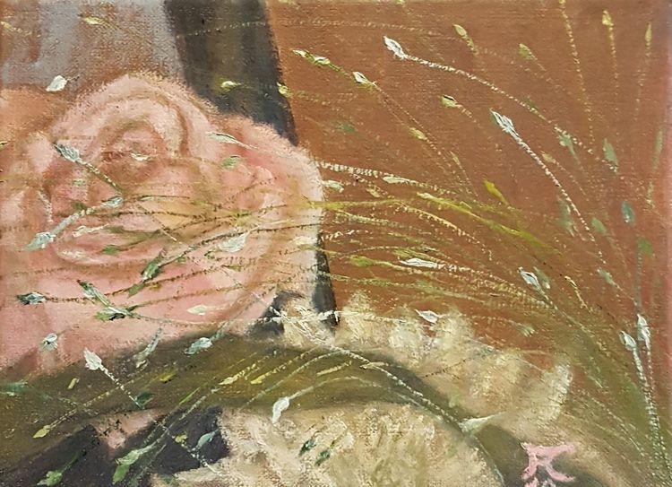 Gras, Chrysantheme, Braun, Rose, Grün, Malerei