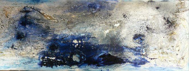Acrylmalerei, Geheimnissvoll, Tiefsee, Abtauchen, Blau, Eintauchen
