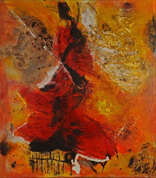 Tanz, Mischtechnik, Rot orange, Rilke, Lebensfreude, Gedicht