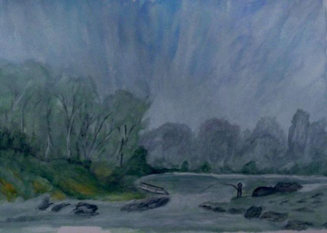 Baum, Landschaft, Nebel, Wasser, Aquarell