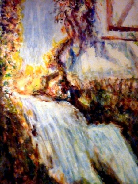 Natur, Wasserfall, Wasser, Aquarellmalerei, Licht, Haus
